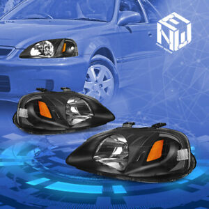 For 99 00 Honda Civic Oe Style Black Amber Corner Headlight Lamps Replacement