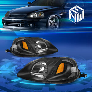 Fit 1999 2000 Honda Civic Ek Jdm Black Housing Amber Corner Headlights Head Lamp