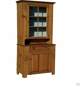 Primitive Hutch Stepback Cupboard Early American Farmhouse Kitchen China Cabinet