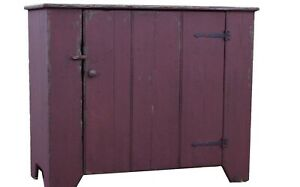 Farmhouse Cupboard Primitve Painted Country Early American Rustic Cabinet Pine