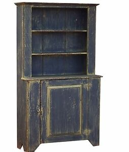 Step Back Cupboard Painted Primitive Hutch Rustic Country Cabinet Early American
