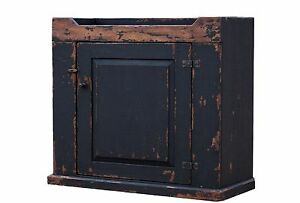 Primitive Painted Pine Country Dry Sink Cabinet Farmhouse Rustic Black Cupboard