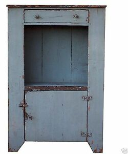 Primitive Painted Distressed Country Bucket Bench Cupboard Cabinet Pine Rustic