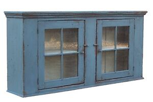 Primitive Painted Kitchen Wall Cupboard Farmhouse Rustic Cabinet Early Country