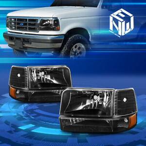 For 92 96 Ford F150 F250 F350 bronco 6pcs Black amber Headlights Replacement