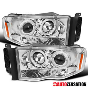 02 05 Dodge Ram Pickup Chrome Led Halo Projector Headlights