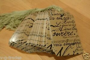 Lot 3000 Large Scalloped Paris Print Paper Merchandise Price Tags With String