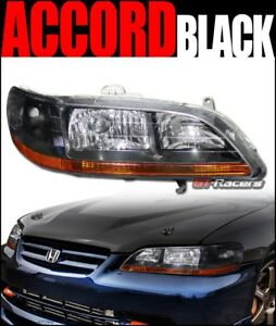 For 1998 2002 Honda Accord Crystal Black Headlights Turn Signal Lamps Amber Dy