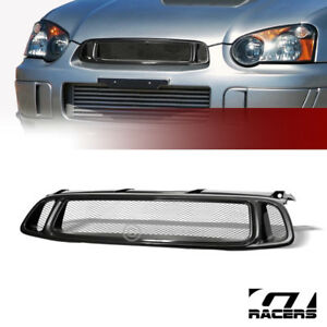 For 2004 2005 Impreza Wrx Black Aluminum Mesh Front Hood Bumper Grill Grille Abs
