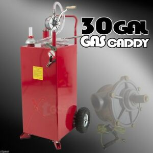 Pro 30 Gallon Gas Fuel Diesel Caddy Transfer Tank Container W Rotary Pump