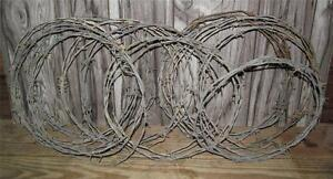 Vintage Lot Of 11 Pieces Rolled Barb Wire