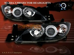 2004 2005 2006 2007 2008 Mazda 3 Sedan Ccfl Halo Projector Headlights Jdm Black