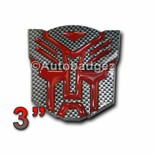 1 New Transformers Autobots Autobot 3d Adhesive Badge Emblem Gloss Black 3