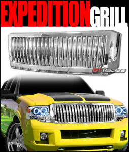 For 2007 2014 Ford Expedition Chrome Vertical Front Bumper Grille Guard Abs 1pc