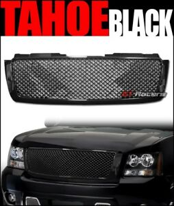 For 2007 2014 Chevy Tahoe Suburban Avalanche Blk Mesh Front Bumper Grill Grille