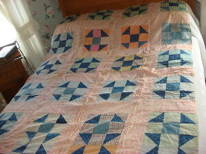 Antique Quilt Top 9 Patch Shoo Fly Pattern Early Calico Floral Pink Plaid 54x76