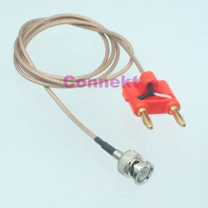 Bnc Q9 Male To Dual Banana Plug Connector Oscilloscope Test Probe Rg316 1m Cable
