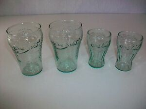 Lot 4 Green Tinted Coke Enjoy Coca Cola Drinking Glass textured embossed