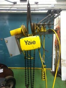 558 2 Ton Yale Electric Chain Hoist 10 lift 16 Fpm Motorized Trolley 3ph