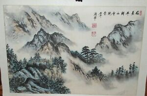 Chinese Mountain Landscape Original Watercolor Painting Signed