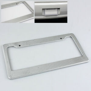 1 X High Quality Silver Carbon Fiber Style Look Wrap License Plate Frame Cover