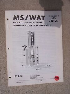 1971 Yale High Lift Straddle Stacker Ms Wat Truck Instruction Parts Manual F