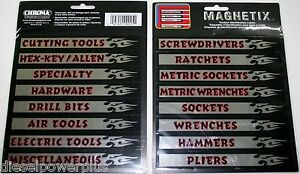 Tool Box Magnets Snap On Matco Craftsman Labels Screwdrivers Ratchets Drawer New