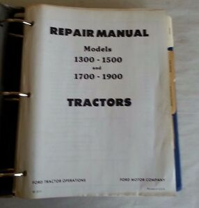 Ford 1300 1500 1700 1900 Tractor Repair Manual With Supplement Se 3771