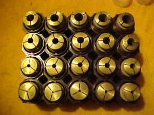 Rare South Bend Lathe 2 2a 20 Pc Set Brass Collets In 64th Sizes