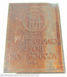 Vintage Copper On Wood Print Block Grand Street Boys Association Negative 8 x6