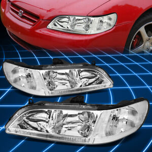Fit Jdm Honda Accord 98 02 4cyl V6 2 4dr Chrome Headlights Clear Corner Light