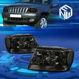 Fit 1999 2004 Jeep Grand Cherokee Wj Smoked Clear Corner Housing Headlights