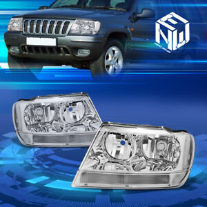 Fit 1999 2004 Jeep Grand Cherokee Wj Chrome Clear Corner Housing Headlights