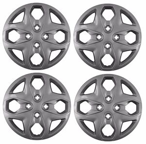 New 2011 2013 Ford Fiesta 15 Bolt On Wheelcover Hubcaps Set Of 4 Silver