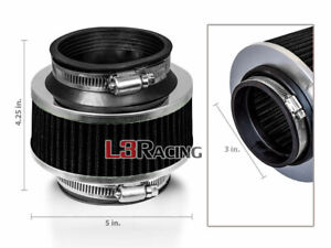 3 Inch 76mm Universal Bypass Valve Black Filter For Acura Honda Cold Air Intake