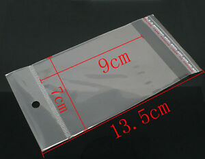 200 X Clear Self Adhesive Cello Bag With Hole Jewellery Display 13 5cm X 7cm Q90