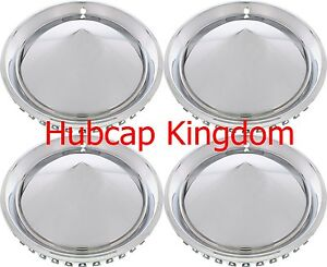 New 15 1957 Plymouth Style Pointed Moon Chrome Hubcaps Wheelcover Set