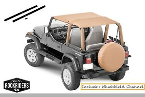 1992 1995 Jeep Wrangler Yj Extended Bikini Top Spice With Windshield Channel Kit