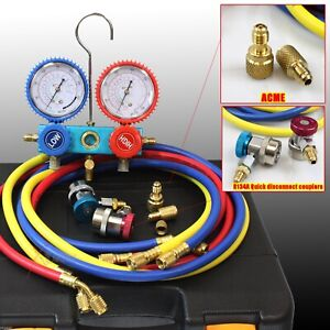 New Hvac Ac Manifold Gauges R410a R134a W 3 Charge Hoses Quick Adapter