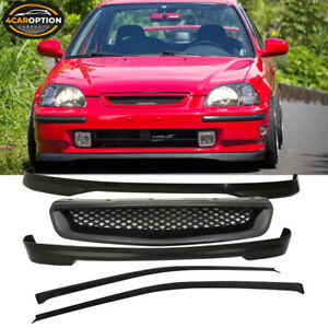 Fits 96 98 Honda Civic 3dr T r Front Rear Bumper Lip Abs Hood Grill Window Visor