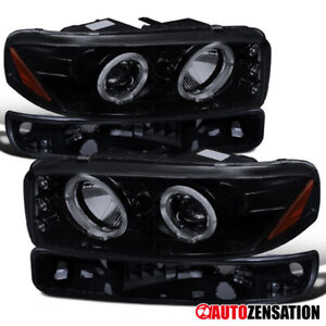 00 06 Gmc Sierra Yukon Xl Glossy Black Projector Headlights Pair Bumper Lights