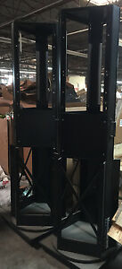 Lot Of 2 Trade Show Exhibits Display Black Metal Swivel Spinner Rack Signage