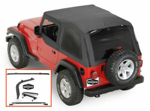 1997 2006 Jeep Wrangler Frameless Bowless Soft Top With Hardware Install Kit