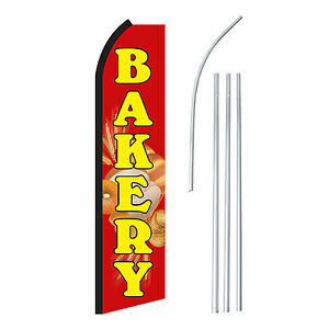 Bakery Red yel Advertising Sign Swooper Feather Banner Flag Pole Only