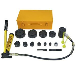 New 15 Ton Driver Hydraulic Tool Kit W 10 Dies 1 2 4 Knockout Punch Set W Case
