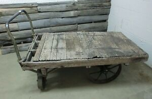 Antique Industrial Steel Wheel Factory Cart Coffee Table Stand Old