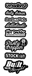 8 Lot Pack Of Jdm Decals Stickers Low Drift Bomb Vinyl Owntheave 8pkb