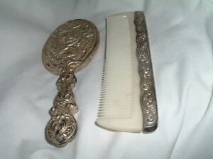 Antique Art Nouveau Silver Plated Vanity Hand Mirror And Comb Set