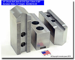 10 Steel Soft Jaws 1 5mm X 60 Serrated For B 210 Type Chucks Pointed 2 0 Ht