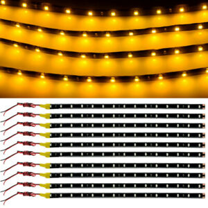 10x 30cm 15 Led Car Motors Truck Flexible Strip Light Waterproof 12v Yellow